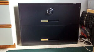 Heavy-duty, high-security, lateral two-drawer filing cabinet