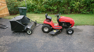 lawn tractor with sweeper