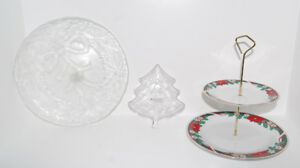 Christmas Package: Arcoroc, Bowring Glass Dishes, 2-tier Server