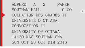 3 tickets for uOttawa 2:30pm convocation collation des grades