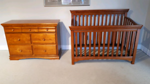Solid Wood Convertible Crib & Dresser