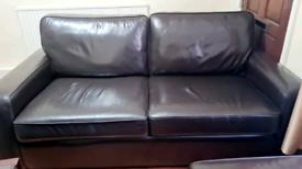 DFS SOFA 3,1,1 & footstool set CHOCOLATE BROWN