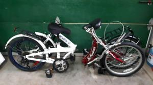 2 Vélos pliants, 6 vitesses, va valise auto, 40$ chacun, très bo