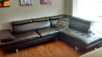 Stylish and Modern Black Leather Sectional Couch - Like New