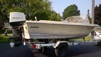 1968 Leavens 15' ski boat, 55HP Johnson outboard, trailer.