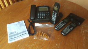 Home Phone System with Answering Device and 3 Cordless Handsets