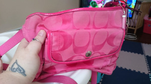 Great condition pink Coach crossbody purse with long strap