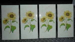 Yellow Sunflower Rectangle Ceramic Pottery SPAIN Tiles $4 each