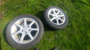 Pair of 15 inch Alloy Rims With Tires w/ Low Tread