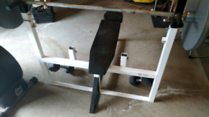 Weight bench, barbell and weights $289.