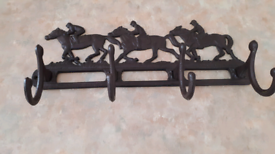 Cast iron 4 hook horse and Jockey Coat/Hat hanger rail ##