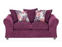 Argos 'Clara' plum purple 2 seater sofa settee 8 months old