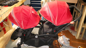 Contours Double Stroller with car seat adapters
