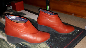 Red leather ankle boots. Made in Portugal. Size 9.