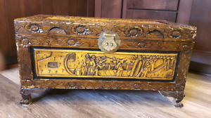 Beautiful hand carved wooden chest