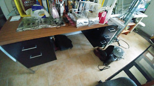 Computer desk with locks and filing gear