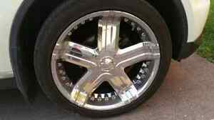 22 Inch 5 Bolt  universal Chrome American Eagle rims with tires