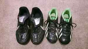 Boys Youth Soccer Shoes / Cleats - 2 pairs: Nike and Adidas