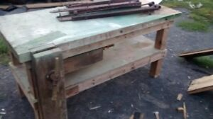 VINTAGE WOODWORKING BENCH WITH VISE,THICK TOP