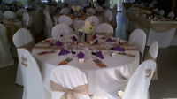 Ivory table clothes,chair covers,sashes,runners for Wedding