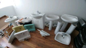 Kitchen/laundry, pedestal sinks & toilets