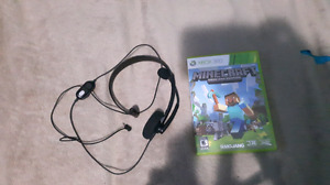Xbox 360 headset and Minecraft for Xbox 360