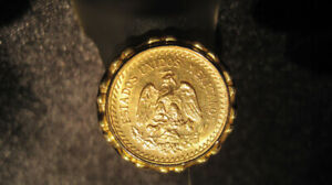 RARE, COLLECTIBLE 22 KT. GOLD MEXICAN PESO COIN RING.  NEW!