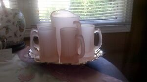 Vintage Pink Frosted Pitcher and 4 Mugs