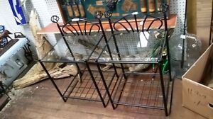 BLACK METAL GLASS TOP NIGHT STANDS OR END TABLES