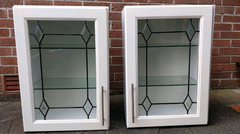 Pair Of Painted Solid Oak Kitchen Cabinets With Leaded Glass Doors And