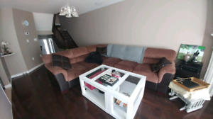 Large Leons Brown Sectional