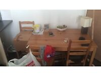 Wooden table with 3 chairs