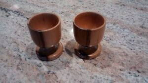 Pair of wooden egg cups.