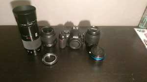 Nikon set with 2 lenses, adapter and flash