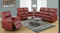 RECLINER SALON'S SET 3 couches in red bonded leather only 1999$