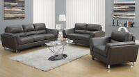 Set de salon 3 fauteuils en cuir reconstitué gris à 1699$