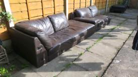 Free leather corner sofa