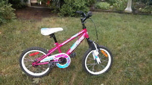 Girls 16in Supercycle Valley for 4-6yr old, hot pink and white,