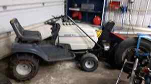 White MTD LT-145 lawn mower with snow blower