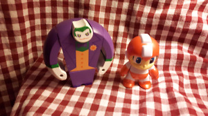 Wooden joker bot (able to come apart) and mega man figure