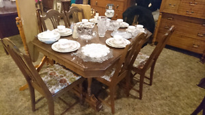 Antique retro table amd six chair set at a low price of $225