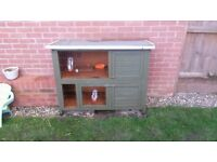 Double storey rabbit hutch and accessories