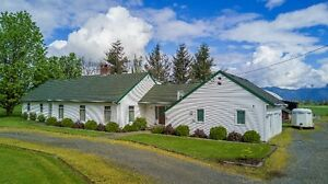 5 flat acres...Barn...Coverall (80x60), Large home and a POOL!