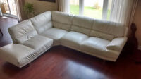 Cream Leather Sectional