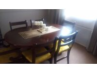 Solid Mahogony Dining Room Table with Extender and 6 Chairs