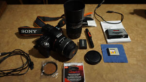 sony slt-a33 with 2 lenses and lowepro flipside sport aw15