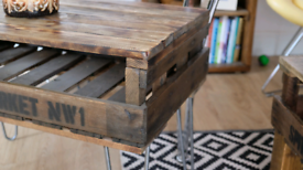 Coffee table from vintage 50s Orchard crate