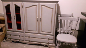 Rustic hand-painted and waxed buffet / hutch
