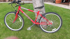 "Universal red bike 14"" frame. Needs attention"