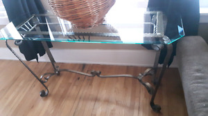 Sofa Table/ 2 End Tables - Heavy beveled Glass